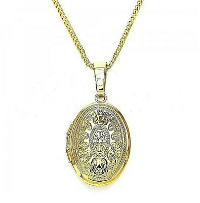 New 9ct Gold Filled Oval Etched  Locket Pendant  Chain Necklace  573 • 17.99£