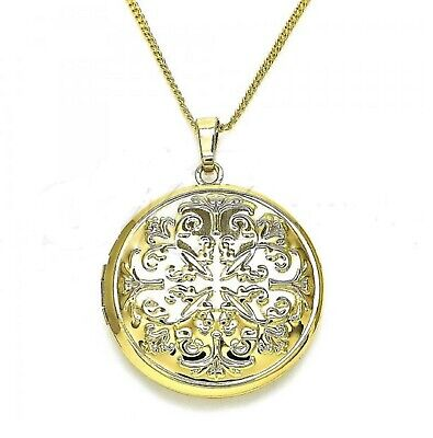 New 9ct Gold Filled  Large Floral Round Locket Pendant  Chain Necklace  574 • 19.99£