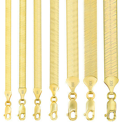 $183.29 • Buy 10K Yellow Gold Solid 3mm-9mm High Polish Silk Herringbone Chain Necklace 16-30