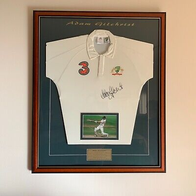AU475 • Buy Adam Gilchrist Framed Signed Test Shirt With Stats