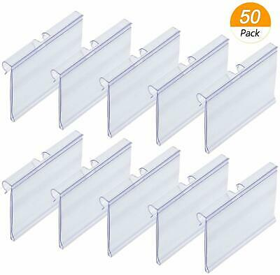 50x Clear Plastic Label Holders Wire Shelf Retail Price Label Merchandise Sign  • 13.04£