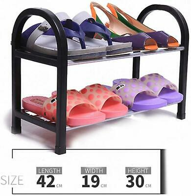 AU42.82 • Buy Small Bedroom Shoe Rack Black And Silver 42cm Clothing And Wardrobe Storage New