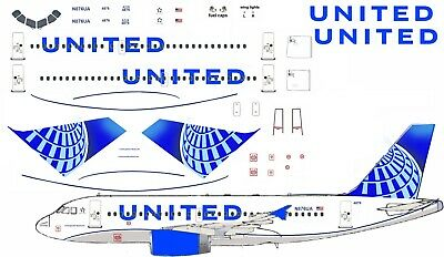 United New 2019 Airbus A319 Airliner Decal 1:144 Scale For Revell Kit • 7£
