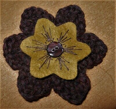 £3.50 • Buy CROCHET FLOWER CORSAGE BROOCH – Hand Crafted –Dark Plum With Embroidered Felt