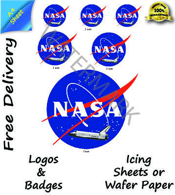 Edible Nasa Space Shuttle Logo Wafer Icing Cake Topper • 4.20£