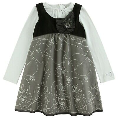 £34 • Buy JEAN BOURGET Girl Edition Speciale Grey Swirl Pinafore Style Layer Dress 4,12yr