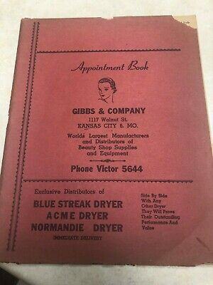 1940's Gibbs & Company Beauty Shop Supply Company Appointment Book - Kansas City • 5.78£
