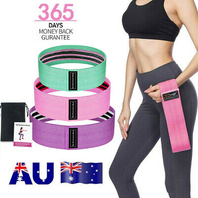 AU33.97 • Buy 3x Resistance Bands Hip Circle Booty Loop Glute Leg Squat Gym Exercise Fitness U