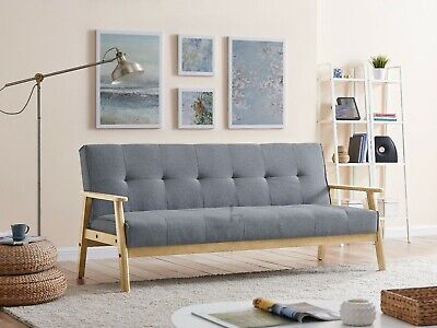 £239.99 • Buy Fabric Sofa Bed 3 Seater Wooden Frame Scandinavian Design Sofabed Recliner