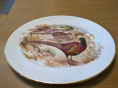 Barratts Delphatic White. Oval Serving Plate . Pheasants. Male And Female Birds. • 7.50£