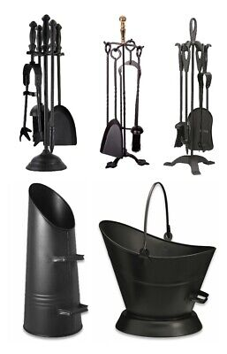 Fireside Black Coal Hod Scuttle Waterloo Bucket 5 Piece Companion Set Iron Tools • 15.99£
