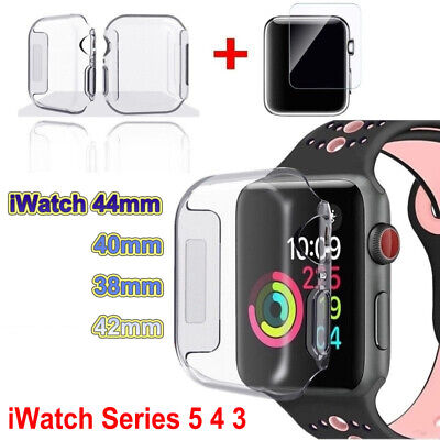 $ CDN2.89 • Buy For Apple Watch Series 5/4 Tempered Glass Screen Protector +TPU Case Cover 40/44
