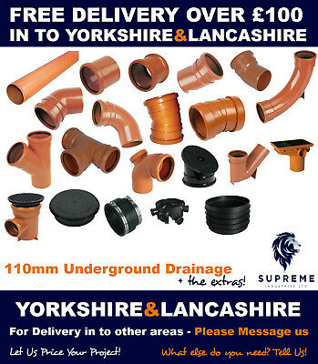 Underground Drainage 110mm Pipe & Fitting-Delivered In To Yorkshire & Lancashire • 3.30£