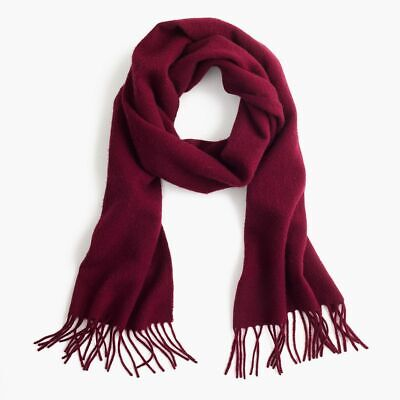 $69.99 • Buy NWT JCrew 100% Cashmere Scarf With Fringe Burgundy Red