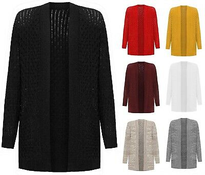 £12.99 • Buy New Ladies Cable Knitted Plus Size Long Sleeve Open Boyfriend Pocket Cardigan