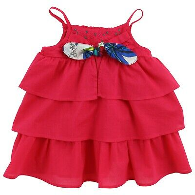 £19 • Buy JEAN BOURGET Baby Girl Bright Pink Tiered Sleeveless Sundress 3yrs