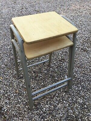 2 Vintage Retro Old School Science Lab Artist Kitchen Bar Stacking Stools • 65£