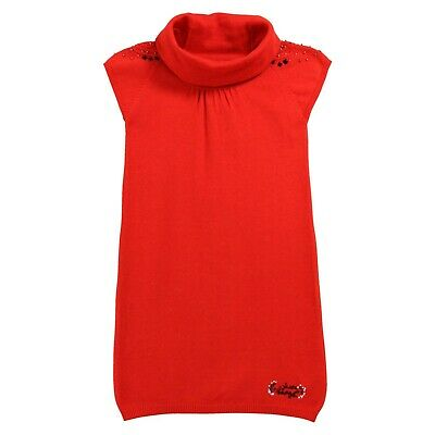 £18 • Buy JEAN BOURGET Girls Vermillion Coral Knitted Dress With Polo Neck 8yrs