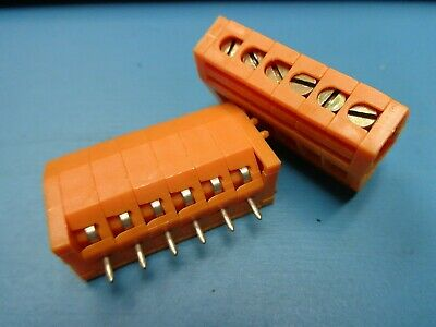 $2.99 • Buy (2) 053986 Weidmuller 0539860000 6 Pole Position Terminal Block 5398.6 Pcb T/h