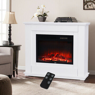 Electric Fireplace Insert Surround Fake Classic Logs LED Decorated Stove Heater • 289.95£