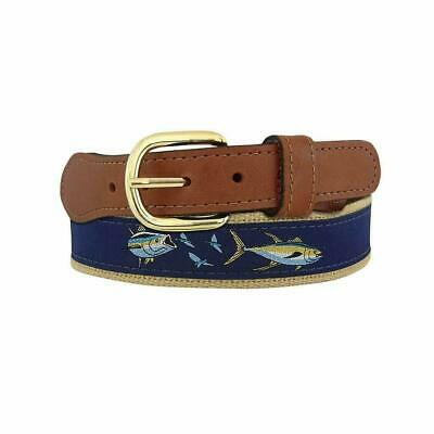 $21.99 • Buy ZEP-PRO Leather Canvas YELLOW FIN TUNA CHASE Ribbon Belt W/ Flying Fish 32-54