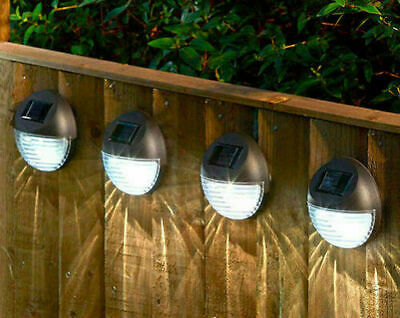 £13.99 • Buy Solar Powered LED Garden Lights Bright White Security Fence Post Wall Mounted