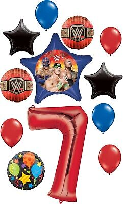 WWE Party Supplies 7th Birthday Balloon Bouquet Decorations • 18.99£