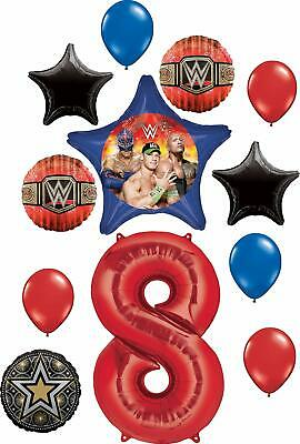 WWE Party Supplies 8th Birthday Balloon Bouquet Decorations • 18.99£