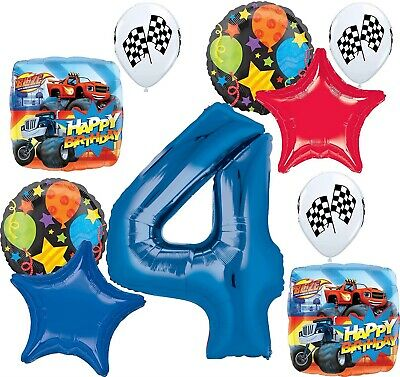 Blaze And The Monster Machines Party Supplies 4th Birthday Balloon Bouquet De... • 14.72£