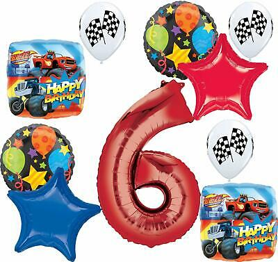 Blaze And The Monster Machines Party Supplies 6th Birthday Balloon Bouquet De... • 16.19£