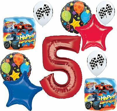 Blaze And The Monster Machines Party Supplies 5th Birthday Balloon Bouquet De... • 16.93£
