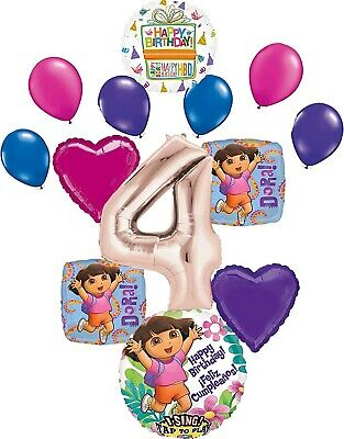 Dora The Explorer Party Supplies 4th Birthday Balloon Bouquet Decorations • 16.49£