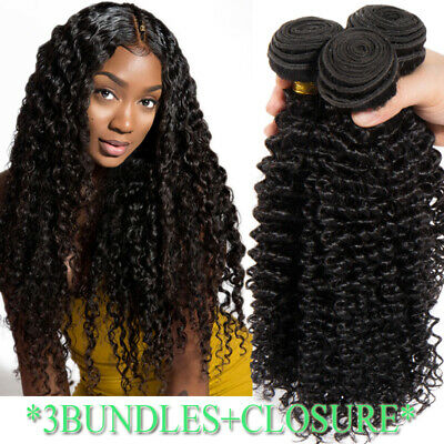 Thick Kinky Curly Wave 3BUNDLES=300G Peruvian Virgin Human Hair Extensions Weft • 25.06£