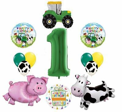 AU34.49 • Buy Tractor And Farms Animal 1st Birthday Party Supplies Balloon Bouquet Decorations