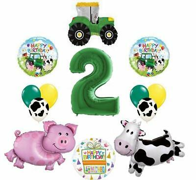 AU34.49 • Buy Tractor And Farm Animals 2nd Birthday Party Supplies Balloon Bouquet Decorations