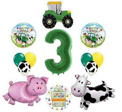 AU34.49 • Buy Tractor And Farm Animals 3rd Birthday Party Supplies Balloon Bouquet Decorations