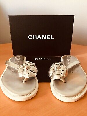 £422.36 • Buy Authentic Chanel Flip Flops Size 39 Color Silver And White