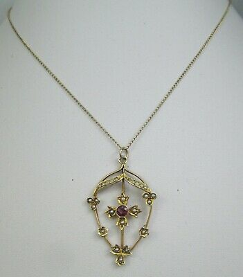 Antique Edwardian 9ct Gold Lavaliere Amethyst & Seed Pearl Pendant Necklace • 159£