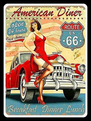 £4.58 • Buy American Diner Route 66, Retro Replica Vintage Style Metal Sign Gift Garage