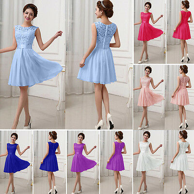 AU18.04 • Buy Womens Lace Pleated Skater Short Mini Dress Formal Party Bridesmaid Wedding Prom