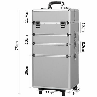 4 In1 Professional Aluminum Rolling Makeup Train Case Wheel Cosmetic Box Drawer • 80.79$