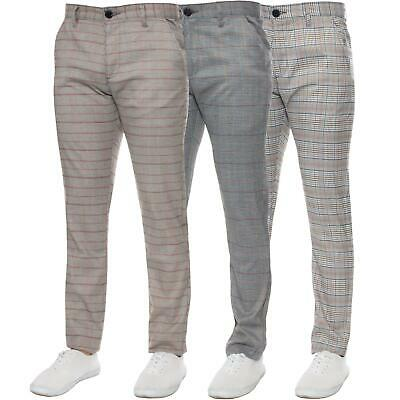 £9.99 • Buy Mens Checked Trousers Slim Fit Soft Stretch Smart Casual Work Office Dress Pants