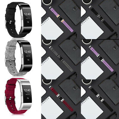 AU16.99 • Buy Woven Fabric Canvas Sport Strap Smart Watch Wrist Band For Fitbit Charge 2/3