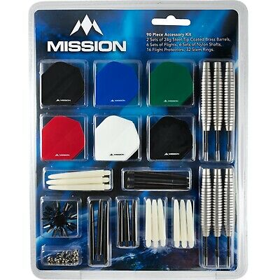 £9.95 • Buy Mission Darts + Accessory Pack Kit Stems Flights Accessories 90 Pieces Steel Tip