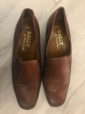New Mens Bally Brown Leather Cane Loafers Shoes Size 7.5  7 1/2 • 150£
