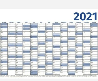 £2.75 • Buy 2021 Wall Planner Calendar A2 Size 594 X 420 Mm Yearly Chart