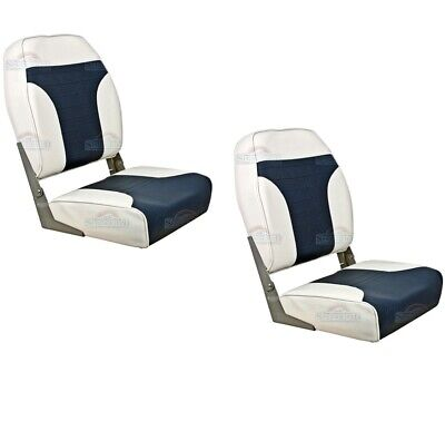 Helm Boat Seats Pair Folding Springfield Marine Pilot Captain BLUE/OFF WHITE • 99.60£