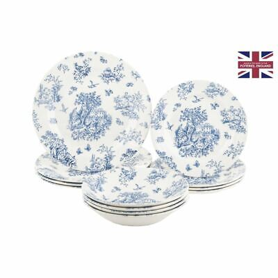 AU79 • Buy Queens Churchill - Toile Blue Chelsea 12pc Dinner Set (Made In England)