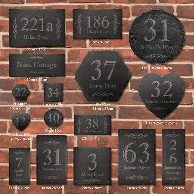 Rustic Slate House Gate Sign Plaque Door Number Personalised Name Plate UK Made • 4.99£