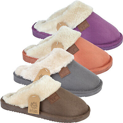 Ladies Fleece Lined Slippers Hard Sole Mules Winter Warm Bedroom Slip On Shoes • 8.99£